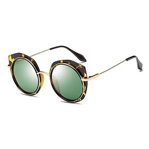 DKEE Nuevas Gafas De Sol Polarizadas for Mujer Gafas De Montura Redonda De Leopardo Protección UV400 Lentes De Color Verde Oscuro De Moda Clásica Gafas de Sol