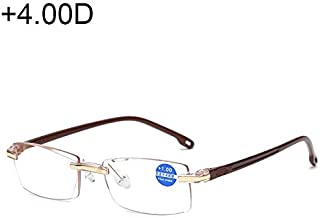 Jtj Rimless Anti Blue-ray Blue Film Lenses Presbyopic Glasses, 4.00D(Black) (Color : Brown)