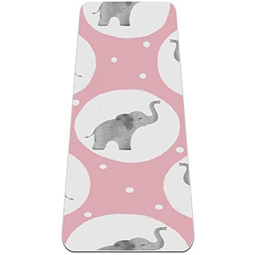Alfombra de yoga de viaje con diseño de elefante, color rosa bebé, de 172 x 60,9 cm, antideslizante, para el hogar, plegable, ligera, para ejercicio de piso...