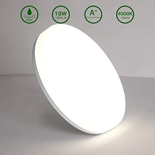 Lámpara de Techo Redonda LED,Luz de Techo Aourow 18W 1800LM,Impermeable IP54,Ideal Para...