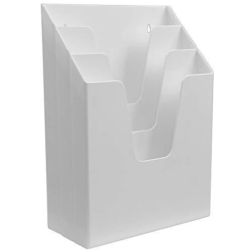 Acrimet Organizador Vertical Con 3 Compartimientos Para Escritorio o Pared (Color Blanco)