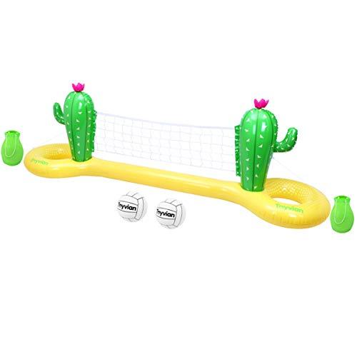 Toyvian Aufblasbares Pool-Volleyball-Spiel-Set, Kaktus, schwimmendes Volleyballnetz für Pool mit verstellbarem Netz und 2 Bällen, Schwimmbad-Volleyball-Spiel, Sommer-Party (300 cm x 70 cm x 100 cm)