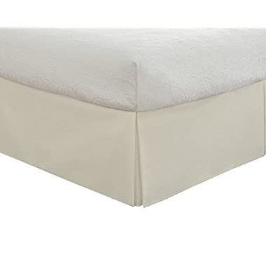 """Lux Hotel Bedding Tailored Bed Skirt, Classic 14"""" Drop Length, Pleated Styling, Queen, Ivory"""
