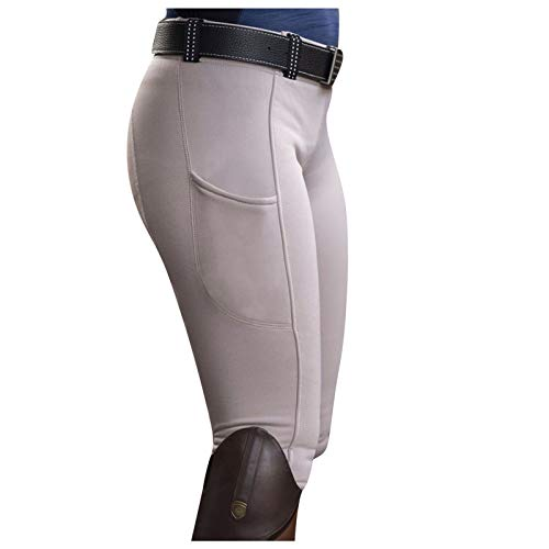 Ikevan Women Equestrian Breeches Tights, High Waist Pockets Sports Horse Riding Pants White
