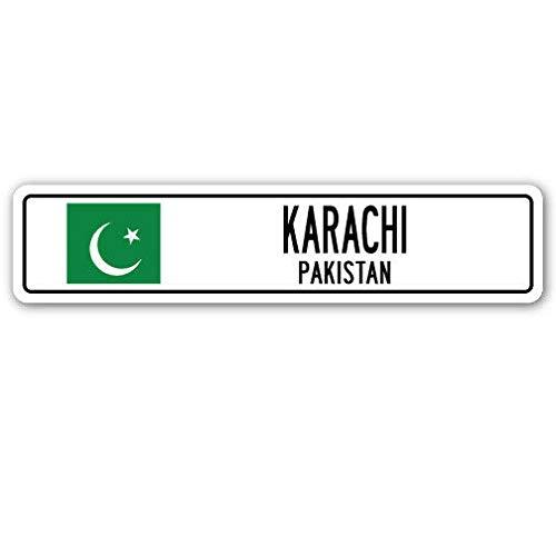 YelenaSign Cartel de Aluminio Karachi Pakistán, Bandera pakistaní, Ciudad, Campo, Calle, Muro GIF, 4 x 16 Pulgadas: Amazon.es: Hogar