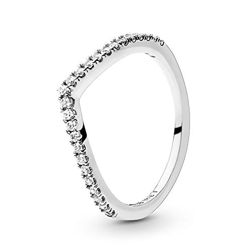 Pandora Jewelry Sparkling Wishbone Cubic Zirconia Ring in Sterling Silver, Size 7.5