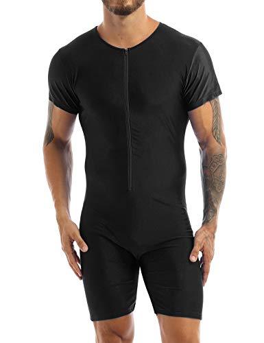 Yanarno Men's Zip-Front Biketard Spandex Dance Unitard Bodysuit Gym Fitness One Piece Leotards Black XL