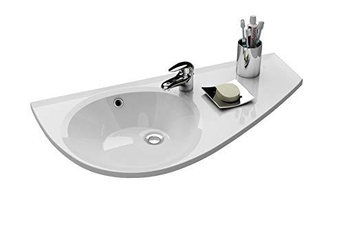 Praktisches Eckwaschbecken | Waschbecken zur Wandmontage mit Hahnloch und Überlauf | Hängewaschbecken | Waschtisch Avocado 850 x 450 Rechts | RAVAK