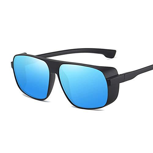 NXMRN Gafas De Sol Gafas De Sol Steampunk Para Hombres Y Mujeres, Gafas Retro Cuadradas, Gafas De Sol Para Hombre Y Mujer, Gafas De Moda Vintage Steam Punk-Azul negro