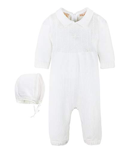 Baby Boy's Christening Outfit with Bonnet Hat - Cross Detail (9 Months) White