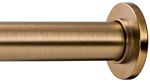 Ivilon Tension Curtain Rod - Spring Tension Rod for Windows or Shower, 36 to 54 Inch. Warm Gold