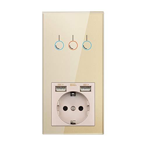 KEXQKN Interruptor de luz táctil, Sensor Interruptor, zócalo con USB, instalación Vertical Panel de Cristal de Cristal de Oro 172 * 86, zócalo con Interruptor de luz 1/2/3 para casa