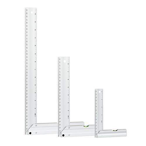 POWERTEC 80005 L Square Ruler Set w/Bubble Levels, Anodized Aluminum Finish – 3pc Set