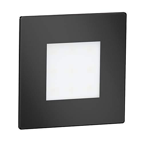 ledscom.de LED Treppen-Licht FEX Wand-Einbauleuchte, schwarz, eckig, 8,5x8,5cm, 230V, warmweiß