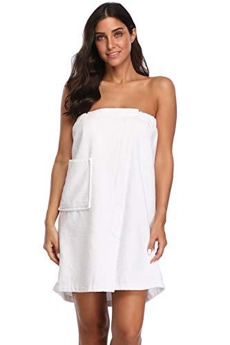Women's Spa Towel Wrap,100% Cotton Shower Bath Body Wrap with Pocket