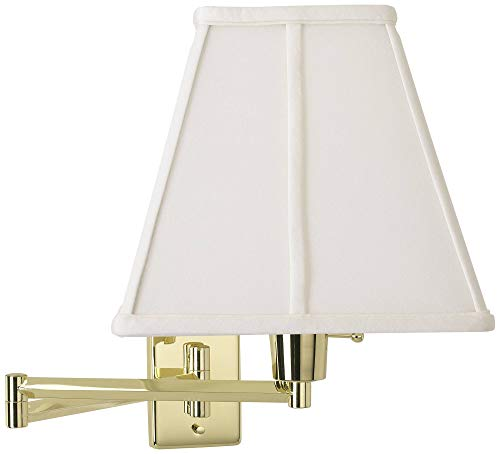 White Square Shade Plug-in Style Swing Arm Wall Lamp