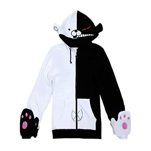 Lifeye Black White Bear Hoodies Sweatshirts Cosplay Jacket Unisex Adult Long Sleeve Coat with Gloves L