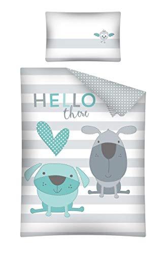 Kinderbettwäsche Bettwäsche 100x135 + 40x60 Hund Babybettwäsche Grau Blau