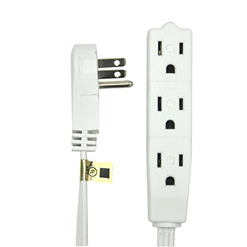 BindMaster 8 Feet Extension Cord/Wire, 3 Prong Grounded, 3 outlets, Angled Flat Plug, UL Listed, White