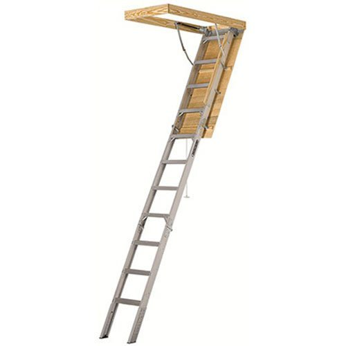 """Louisville Ladder 25-1/2 by 54-Inch Elite, 7'8""""-10-Foot Ceiling Height, 375-Pound Capacity, Type IAA, AA2510, Aluminum Ladder, attic, x Rough Opening, Silver"""
