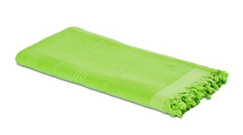 Carenesse 2 in 1 Hamamtuch 90 x 190 cm Apfel-grün I Zweiseitiges Hamam Handtuch 100% Baumwolle: Glatt & Frottier I Pestemal / Fouta saugfähig & hygienisch I Hamam Strandtuch / Saunahandtuch kompakt