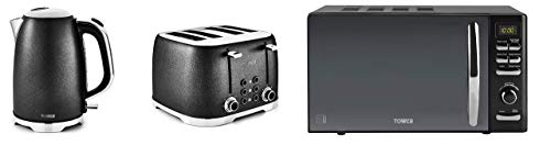 Kitchen Tower Black Glitz Stylish 1.7L 3kW Jug Kettle, 4 Slice Toaster and Tower Black Digital Microwave