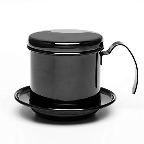 Bospyaf Edelstahl Handtopf Einfache Tropfkaffeekanne Tropfkanne,Schwarz