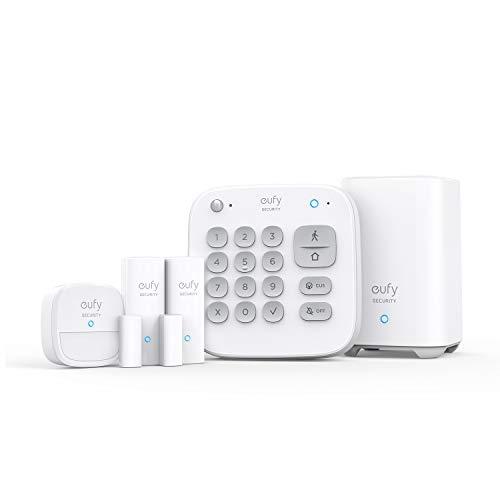 eufy Security 5 piezas Smart Home Set, sistema de seguridad inteligente para el hogar, con cerradura de puerta, sensor de movimiento, 2 sensores de robo, sistema de alarma, compatible con eufyCam