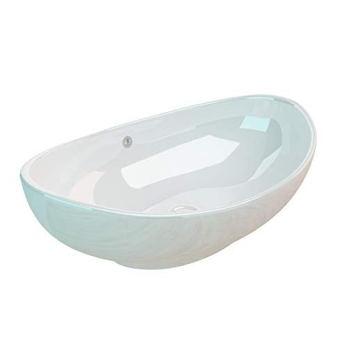 KERABAD Keramik Aufsatzwaschbecken Waschschale Waschtisch mit Überlauf Oval Weiß KBW247