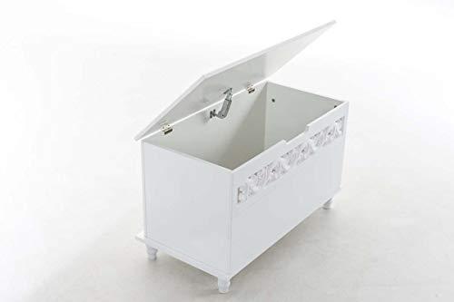 CLP Truhenbank Millie mit aufklappbarem Deckel   Sitzbank im Landhausstil   Wäschetruhe mit floralen Elementen im Landhausstil, Farbe:weiß - 5