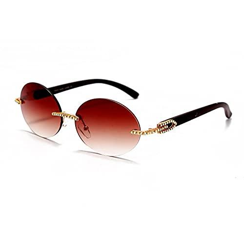 ShZyywrl Gafas De Sol De Moda Unisex Gafas De Sol Redondas Vintage para Hombre, Gafas De Sol Fahsion para Mujer, Gafas De Madera De Cristal Ovaladas, Gafas Sin