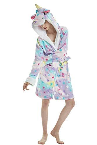 Einhorn Schlafanzug Damen Winter Pyjama Bademantel Flanell Tiere Ankleiden, Einhorn - 4, M: (Passend für Höhe 150-165 cm)