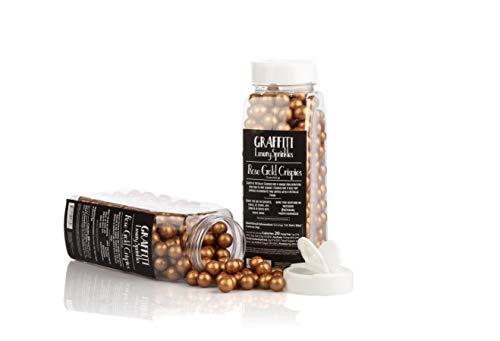 Edible Decorations for Baking, Ice Cream, Cake Decorating by Graffiti Sprinkles | Jumbo Rose Gold Pearl Crispies | 32 oz Shaker Bottle