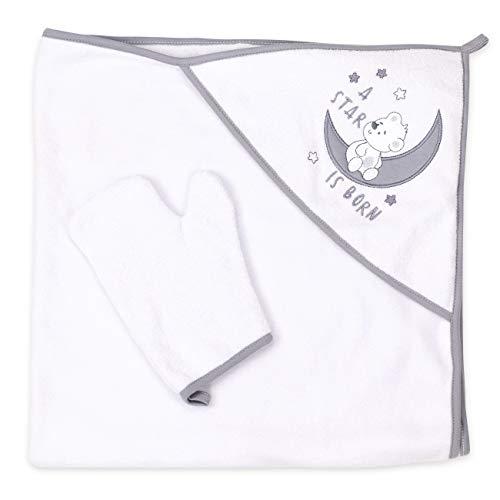 Baby Sweets Kapuzenhandtuch Baby mit Waschlappen weiß grau / Baby Handtuch mit Kapuze Bär-Motiv A Star is Born / 2er Baby-Set Badetuch & Waschhandschuh für Neugeborene & Kleinkinder / Einheitsgröße