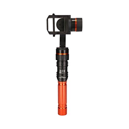 Rollei Profi Actioncam Gimbal in Schwarz/Orange | 3-Achsen Schwebestativ (Stabilisator/Steadycam) für Actioncams | inkl. App für Fernsteuerung | für Rollei Actioncams und GoPro Hero 6 / 5 / 4 / 3