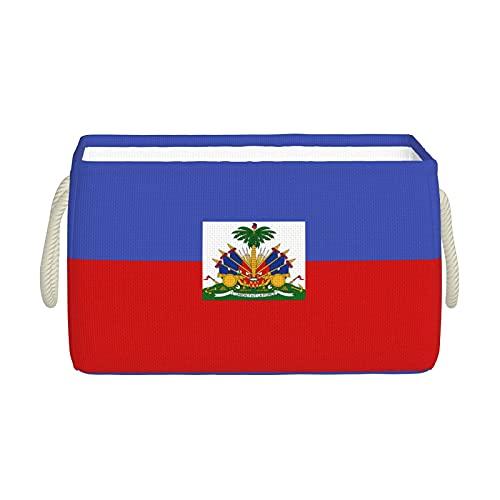 Aufbewahrungskörbe, Flagge von Haiti, Aufbewahrungskorb, faltbar, dekorative Körbe, Organisationsbox mit Handgriffen für Kleidung, Regal, Zuhause, Schrank, Schlafzimmer, 40 x 25 x 20 cm