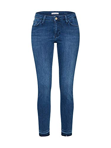 rich&royal Damen Midi Satin Slim Jeans, Blau (Denim Blue 700), W29/L32