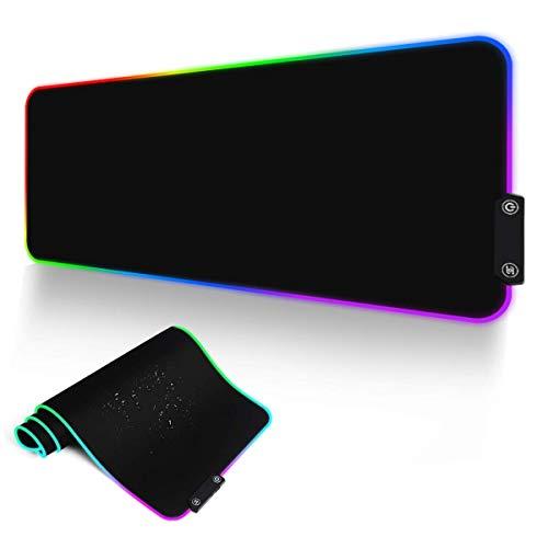 Alfombrillas de Ratón RGB, Alfombrilla Raton LED de 14 Modos con Superficie Impermeable Base de Goma Antideslizante para PC y Portátiles 80x30 cm