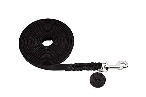HUNTER Solid Education Suchleine für Hunde, Leder, geflochten, robust, weich, 1.8 x 500 cm, schwarz
