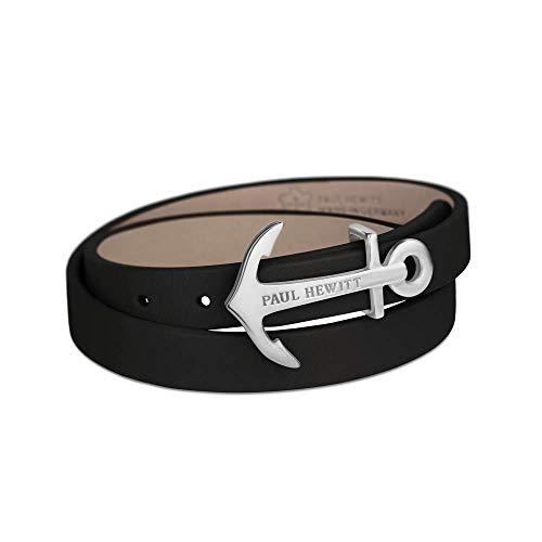 PAUL HEWITT Damen Wickelarmband North Bound aus Leder in Schwarz und Anker aus Edelstahl in Silber Armband-Länge 42,5 cm