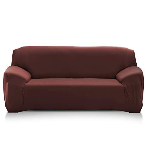 PETCUTE Fundas de sofá elasticas Protector de sofá Funda Elastica Chaise Longue Cubre Sofa Elastico Funda Sillon marrón 4 plazas