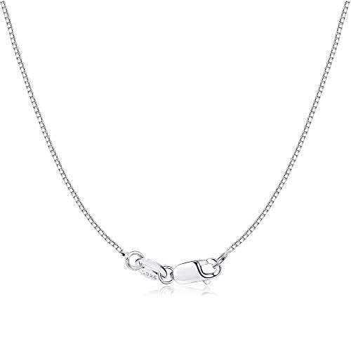 Milacolato 925 Sterling Silver 1mm Box Chain Necklace for Women Men 18K Gold Plated Durable Italian Silver Necklace Chain Jewelry - Lobster Claw Clasp 20 Inches