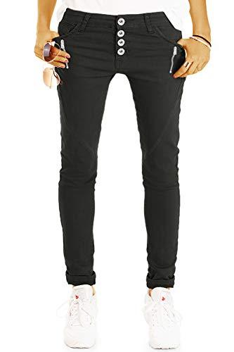 be Styled Damenjeans, Hüftige Tapered Hose, lässige lockere Stretchfit Passform, Knopfleiste und Reißverschluss j14r 36/S-schwarz