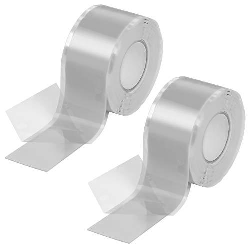 Poppstar 2x 3m selbstverschweißendes Silikonband, Silikon Tape Reparaturband, Isolierband und Dichtungsband (Wasser, Luft), 25mm breit, grau
