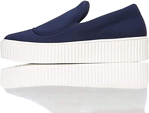 find. Plateau Schuhe Damen Slipper mit gerippter Sohle und dekorativer Naht, Blau (Blue), 40 EU