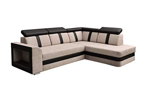 Ecksofa Sofa Eckcouch Couch mit Schlaffunktion und Bettkasten Ottomane L-Form Schlafsofa Bettsofa Polstergarnitur - TEXAS (Ecksofa Rechts, Cappuccino)