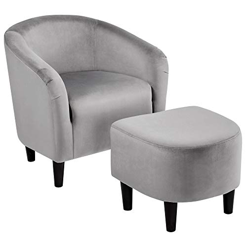 Topeakmart Velvet Club Chair and Ottoman Set Accent Arm Chair with Ottoman Upholstered Barrel Tub Chair and Ottoman Set for Bedroom Living Room Grey