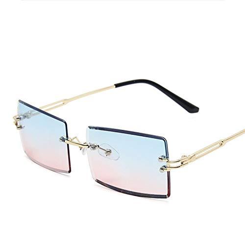 WDDYYBF Sonnenbrille Für Damen Herren,Klassische Sonnenbrille Farben Vintage Retro Rahmenlose Getrimmt Sonnenbrille Square Blau/Rosa Farbverlauf Brille Sonnenbrille Uv-Schutz Sonnenbrille Am Strand
