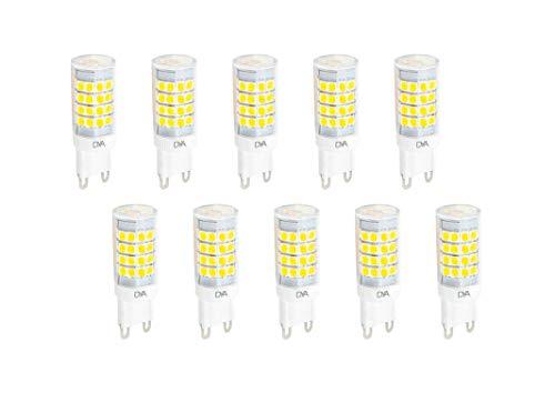 Set di 10 LAMPADINE LED BISPINA G9 - 6W - 510 Lumen - 220/240V - misure ø 18x55mm - luce naturale 4000K° raggio di illuminazione 360° - non dimmerabili