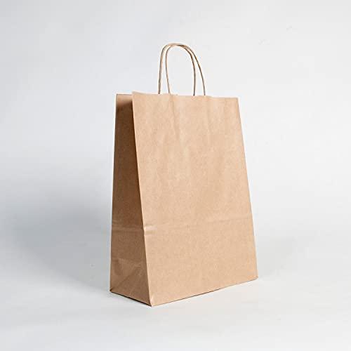 (350 uds.) Bolsas de Papel kraft verjurado BIODEGRADABLES con ASA RIZADA, para comercios, RECICLABLES, REUTILIZABLES Y SOSTENIBLES, bolsas marrones resistentes (180+80x240)